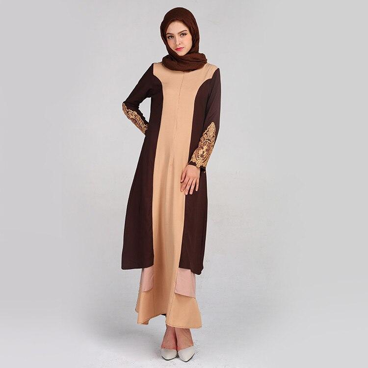 Apliques vestido islámico gasa mujeres turcas ropa abayas verano estampado trompeta manga bordado elegante Swing vestido 4,10