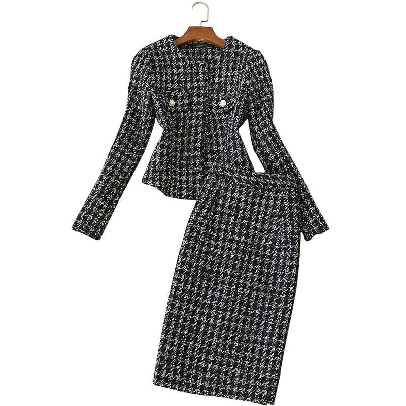 2 piece set women autumn and winter new female long-sleeved professional suit  tweed jacket high waist woolen skirt suit