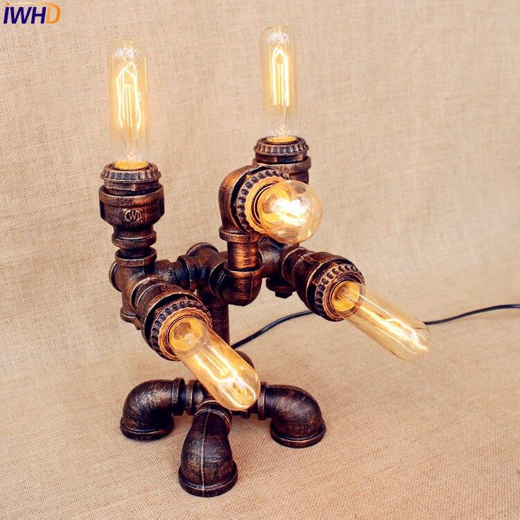 IWHD, lámparas de mesa de estilo Loft Industrial para sala de estar,...