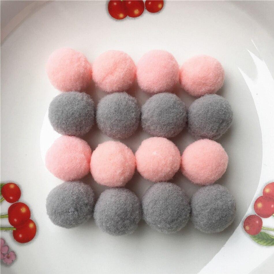 100 unids/pack 25mm pompón mezcla rosa/gris pompón piel artesanal DIY pompones suaves bolas decoración de la boda/hogar pegamento en accesorios de tela