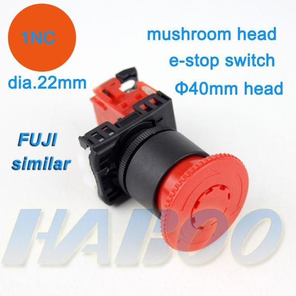 5 unids/lote AR22V2R FUJI de emergencia similares interruptor de botón pulsador 1NC cabeza de hongo interruptor de parada de emergencia 600 V 10A IP40