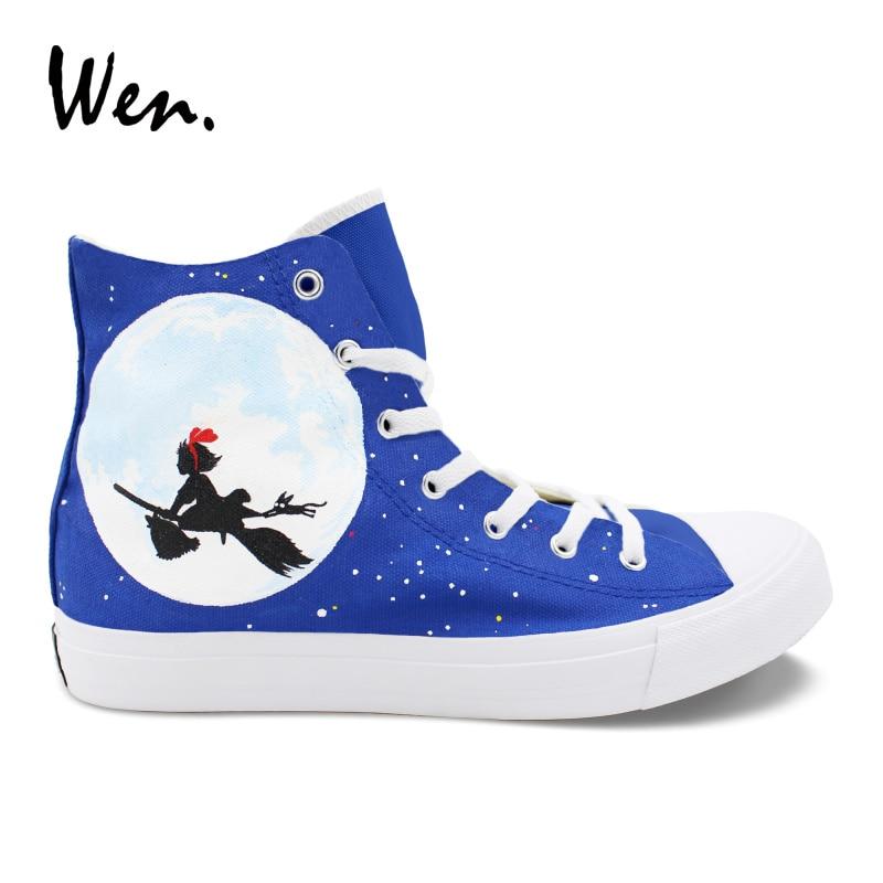 Wen-أحذية رياضية مرسومة يدويًا من Kiki ، أحذية تنكرية للجنسين ، تصميم أنيمي مبركن ، خدمة توصيل Kiki