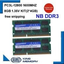KEMBONA tout neuf ordinateur portable Memoria RAM DDR3 8 GB KIT (2*4 GB) 12800 S PC3L 1.35 V faible puissance 1600 MHz 204-pin SODIMM garantie à vie