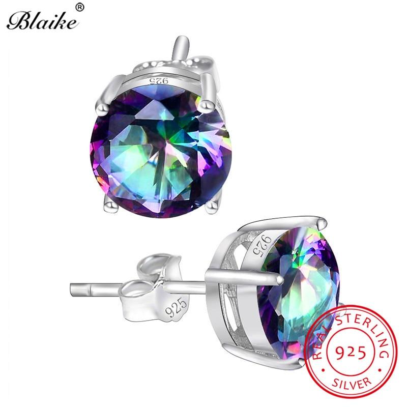 Blaike Mystic Rainbow Topaz Zircon Round Stone Stud Earrings For Women 100% Genuine 925 Sterling Silver Earrings Wedding Studs