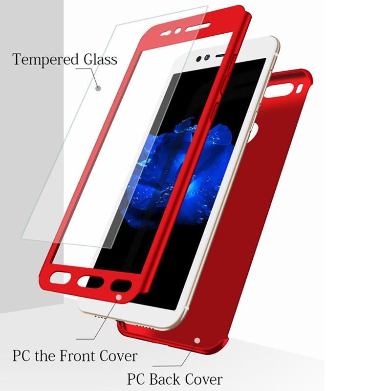 WeeYRN 360 Proteção Integral Capa Xiao mi mi A1 A2 5 5S 6 Luxo Hard Case Plástico Matte Xiao mi mi 5X 6X Funda + Vidro Temperado