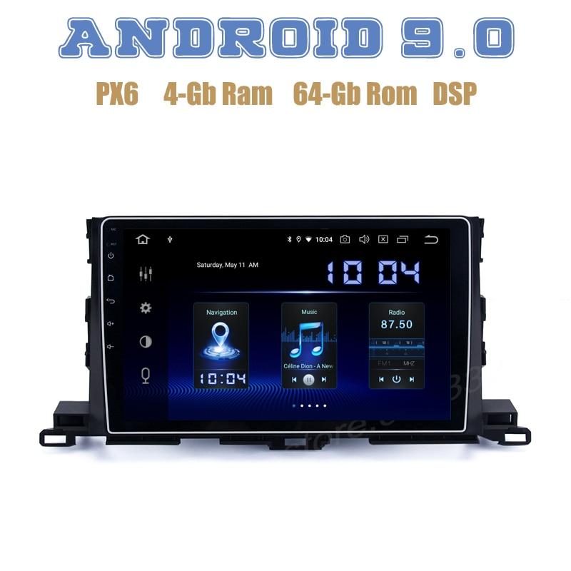 "10,2 ""IPS PX6 Android 9,0 radio reproductor GPS para coche para Toyota Highlander 2015-2018 con DSP 4 + 64GB wifi 4g usb estéreo para coche"