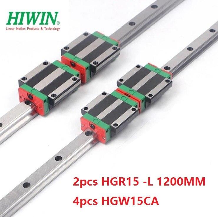 2 pcs 100% الأصلي Hiwin خطي السكك الحديدية HGR15-L 1200mm + 4 pcs HGW15CA (HGW15CC) شفة كتلة النقل ل cnc راوتر