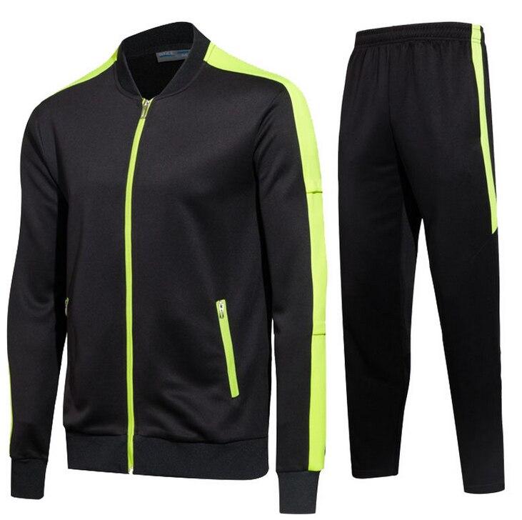 2017 transpirable adulto niño entrenamiento trajes fútbol Jersey Kit hombres manga larga cremallera fútbol ropa niño Jogging chándal Set