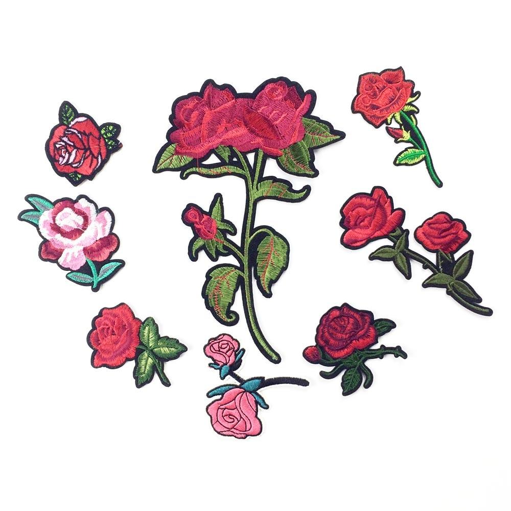 Bordado de hierro en parches para ropa de hierro en pegatinas Rosa flor parche apliques para ropa DIY insignias coser proveedor