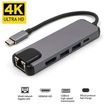 Typ C USB C Hub USB na Gigabit Ethernet Rj45 1000M Lan HDMI Adapter USB dla Macbook Pro Thunderbolt 3 USB-C ładowarka Port p18