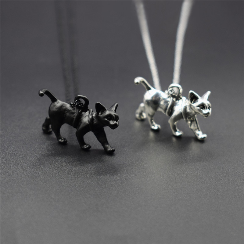 Trendy Vintage Retro 3D Sphynx Cat Necklace Fashion Animal Cat Jewellery Pendant Necklace Women Steampunk