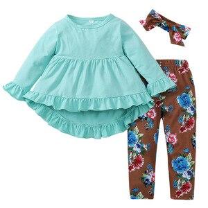Baby Girl Clothing Set Irregular Children's Shirt Pant Headwear 3PCS Set Cotton Spring Clothes For Girls