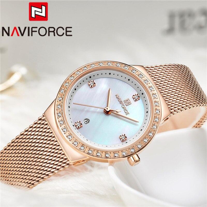 Naviforce mulheres marca de luxo relógio simples quartzo senhora relógio de pulso à prova dfemale água moda feminina relógios casuais reloj mujer 5005