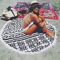 26 colors 150cm tassel giant beach blanket donut pizza picnic camping mat round sandbeach towel printed cloth pad shawl mattress