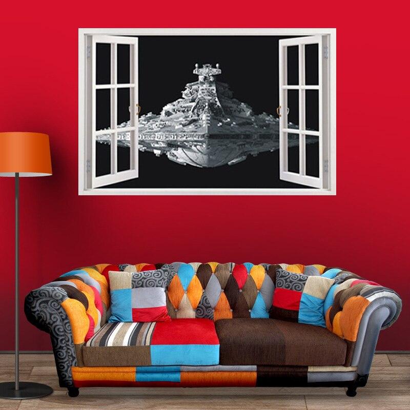 Star Wars nave espacial 3D Etiqueta de pared de material de PVC DIY pegatinas de pared para sala de estar sofá Fondo pared niños habitación decoración pegatina