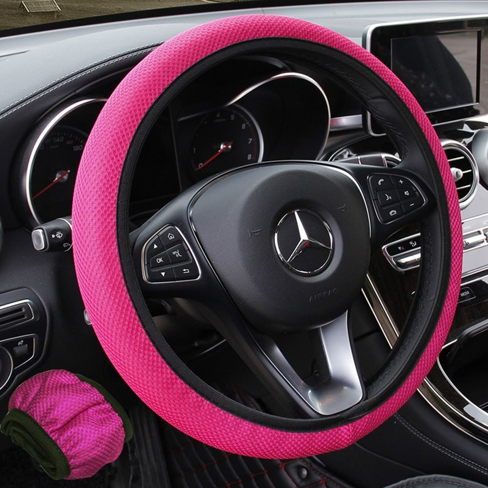 1PCS Ice Silk Steering Wheel Cover Universal for 38CM Wear-resistant Anti-slip Car Accessories Black Red Rose Gray Beige Purple