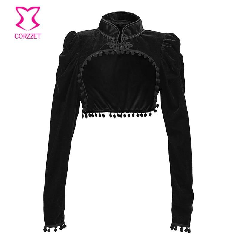 Borla de franela negra con cuello levantado, chaqueta Steampunk de manga larga Extra corta, abrigo Vintage para mujer, accesorios de corsé de ropa gótica