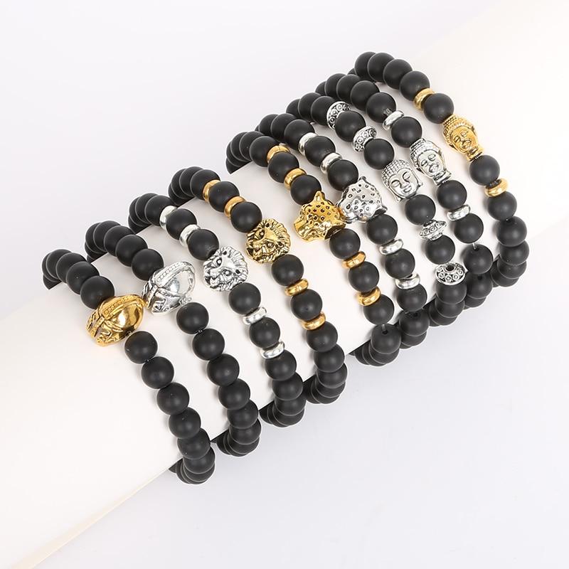 8mm Buddha Lion Leopard pulseras negro mate pulseras + plateado oro/plata cristal cuentas hombres mujer joya casco pulsera