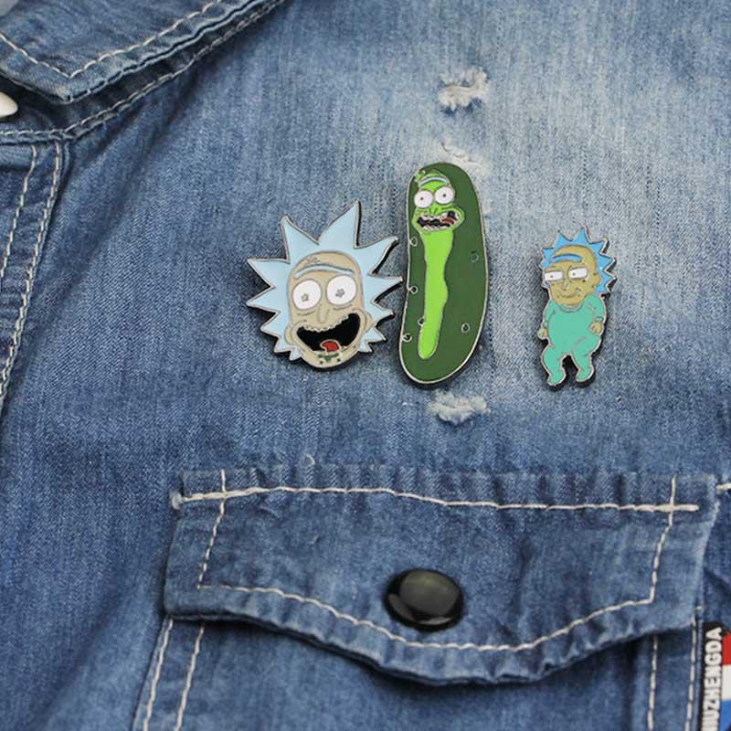 Классическая эмалированная брошка на кнопках с героями мультфильмов и иконами из аниме, джинсовая куртка, брошка с отворотом