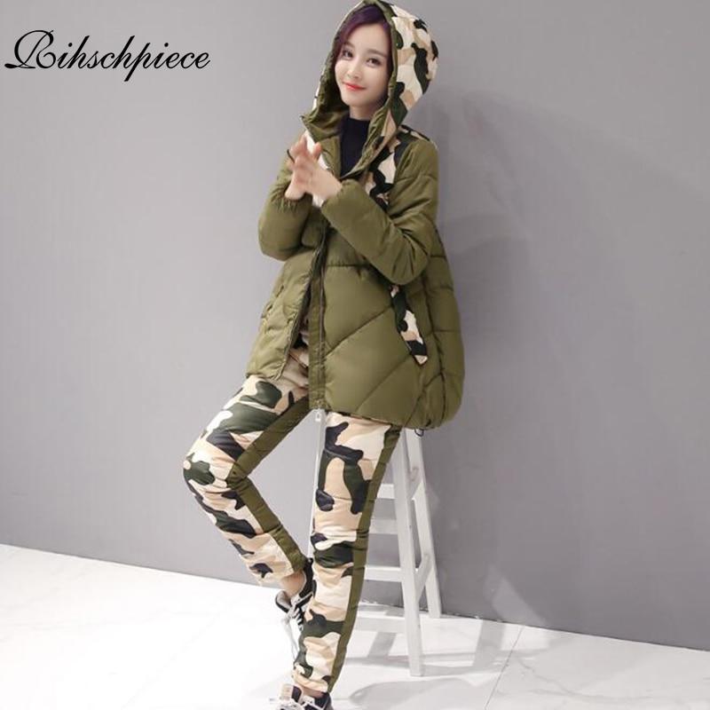 Rihschpiece 2018 Down Coat Tracksuit Winter Jacket Pants Women Hoodie Parka 2 Piece Set Camouflage Womens Winter Suit RZF822