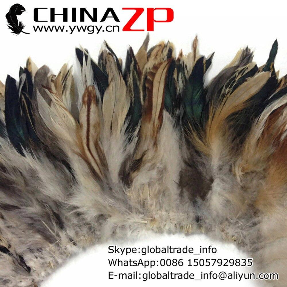Chinazp fábrica 200 unids/lote selectas de alta calidad crema Natural medio bronce string Rooster Schlappen plumas