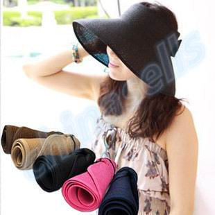 50pcs women Travel vacation Beach Empty Top Hats cap visor straw hat lady summer sunscreen folding Wide Large sun hat