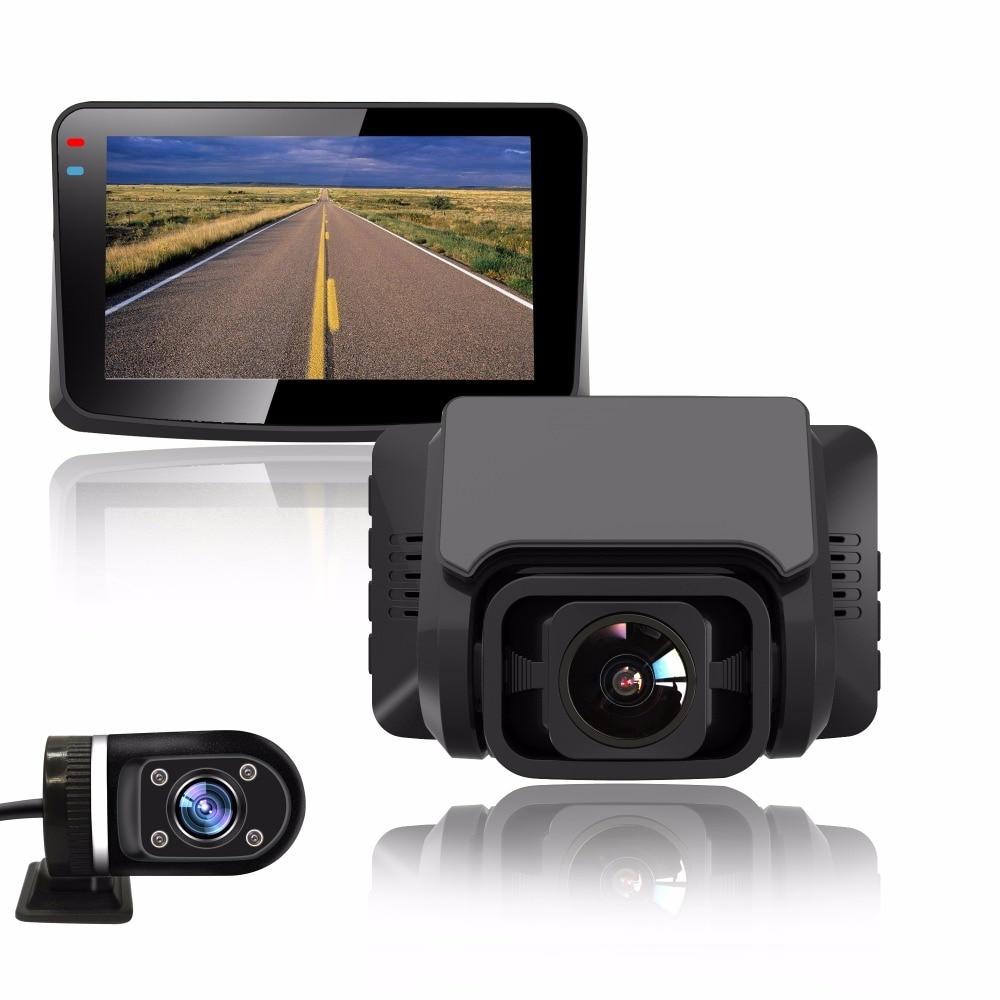 Cámara de salpicadero grabadora DVRs para coche, lente Dual para vehículo 720P, cámara trasera con GPS integrado, videocámara 1080P, visión nocturna, monitor de aparcamiento Dashcam