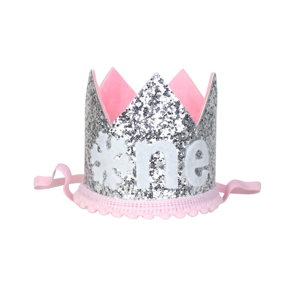 Sombrero brillante de un año para niña, corona de copo de nieve, sombrero para primera fiesta de cumpleaños, corona de pastel de invierno, traje de cumpleaños