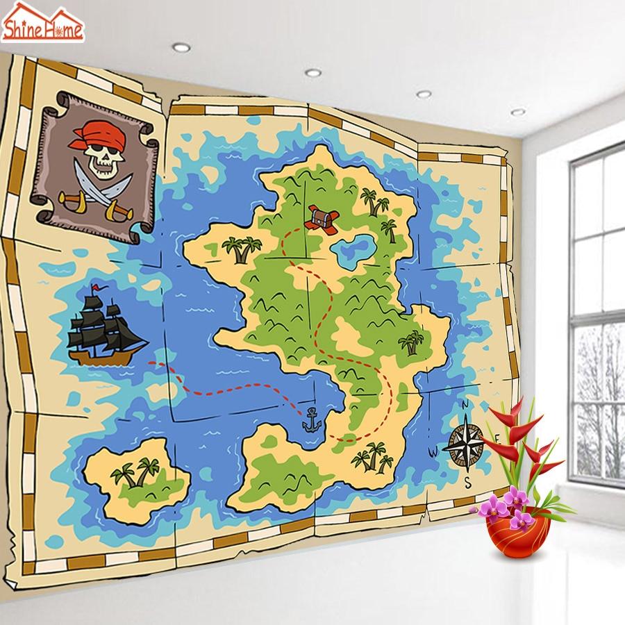 ShineHome-moderno tejido no tejido de foto de papel de dibujos animados fondos de pantalla 3 d para habitación mapa del tesoro a casa bebé de los niños de papel de pared