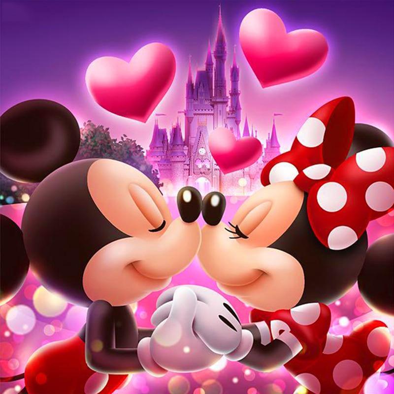 Adorable pintura de Mickey Minnie Diy 5D pintura de diamante de dibujos animados completo diamante redondo de resina bordado mosaico pintura niños regalo