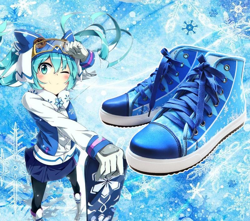 Anime Vocaloid Hatsune Miku con diseño de nieve Cosplay Zapatos niños niñas alta calidad Casual zapatos de lona