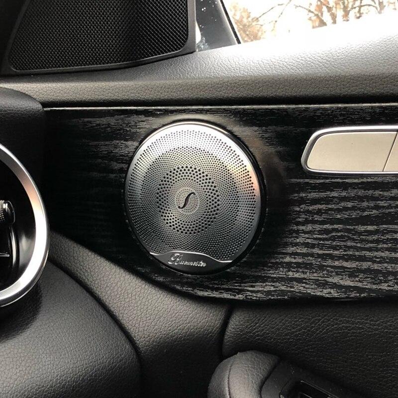 Calcomanía 3D para Mercedes Benz Clase C W205 2015-2017 Puerta de coche de acero inoxidable Audio altavoz tapicería decorativa