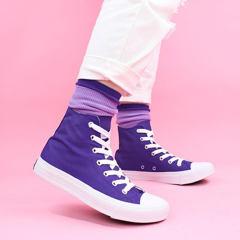 Zapatillas altas Wen para mujer, zapatillas vulcanizadas, zapatillas moradas, plataforma de lona para zapatos, alpargatas, zapatos planos