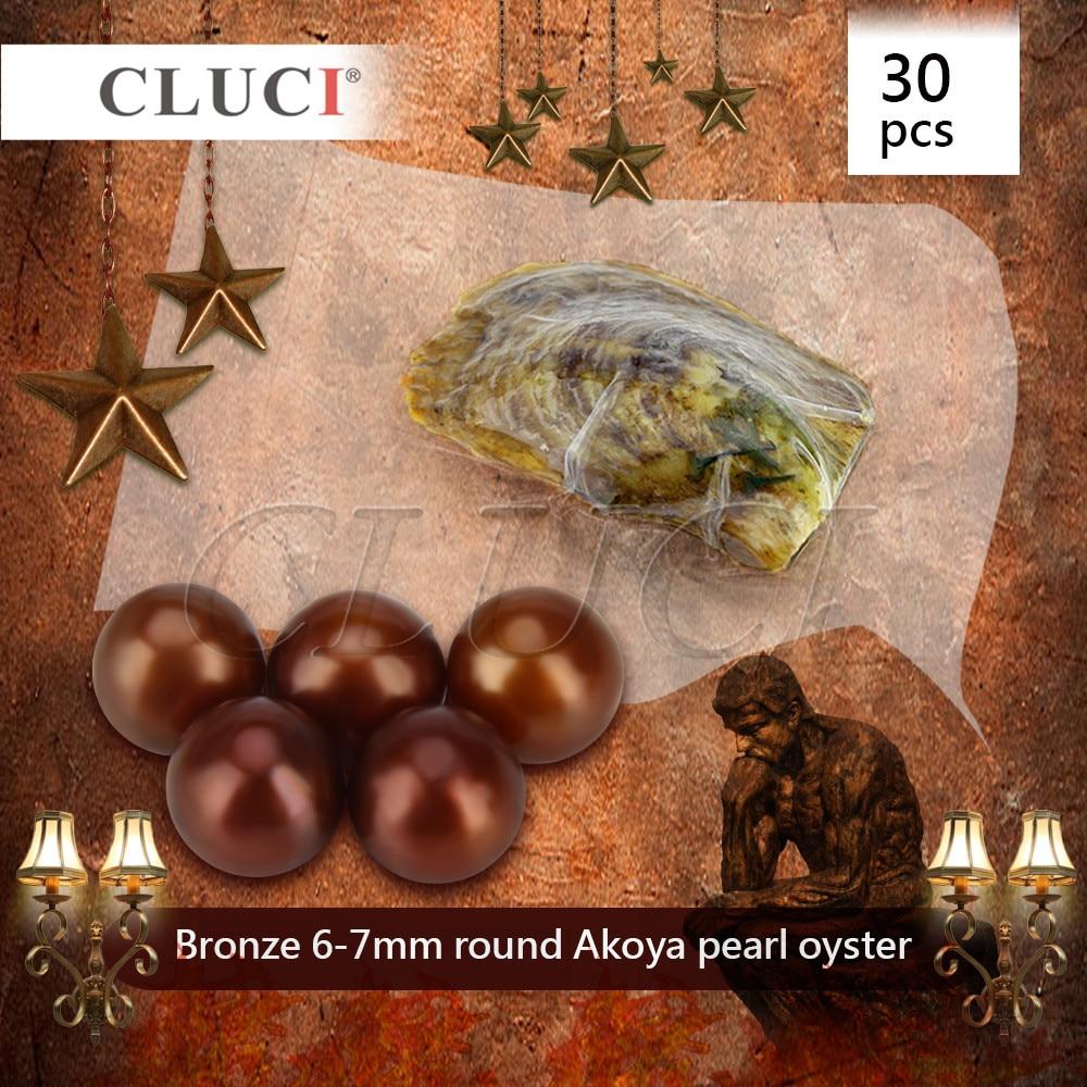 CLUCI yeni varış doğum günü takı kadın hediyeler 30 adet bronz doğal gerçek inci 6-7mm tek inci akoya inci istiridye WP187SB