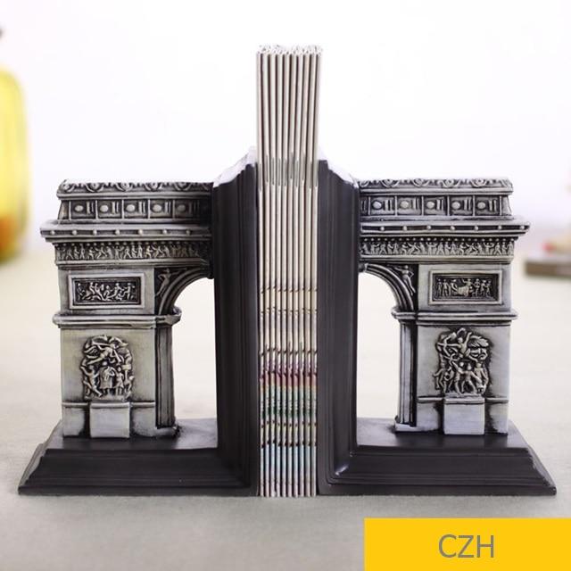 Innovadora escultura de arco de triunfo de París sujetalibros decorativo organizador de libros de escritorio ornamento presente accesorios para manualidades