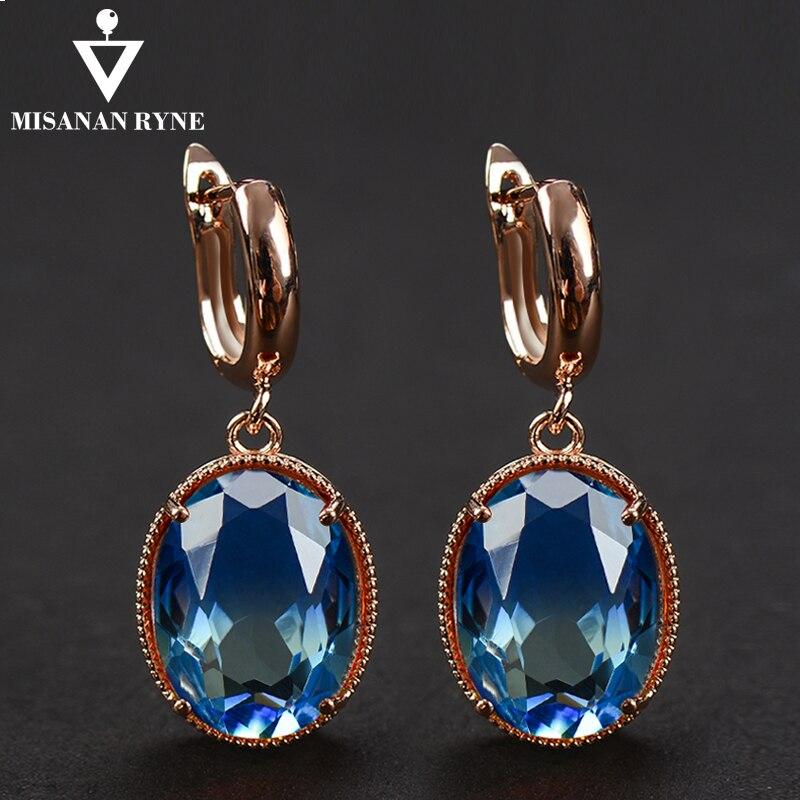 Pendientes de aro elegantes de MISANANRYNE, pendientes Azul grande dorados de cristal verde para mujer, joyería de boda con gradiente de oorbellen