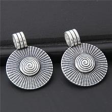 5 قطعة سبائك الفضة اللون الجولة فاينز حلية قلادة فريدة المعلقات البوهيمي مجوهرات صنع الاكسسوارات 31x32 مللي متر A3050
