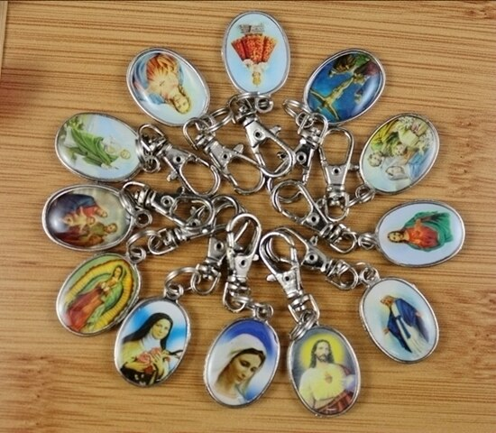 Surtido de plata retro con esmalte Jesús nuestra señora encanto llavero anillo para llaves coche llave anillo de recuerdo pareja llave accesorios de cadenas Z180
