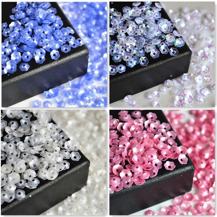 10g/600 piezas Floret/Flor de ciruela mano costura lentejuelas DIY accesorios Bulk Flash Piece ropa Cruz top de punto tabletas de cuentas