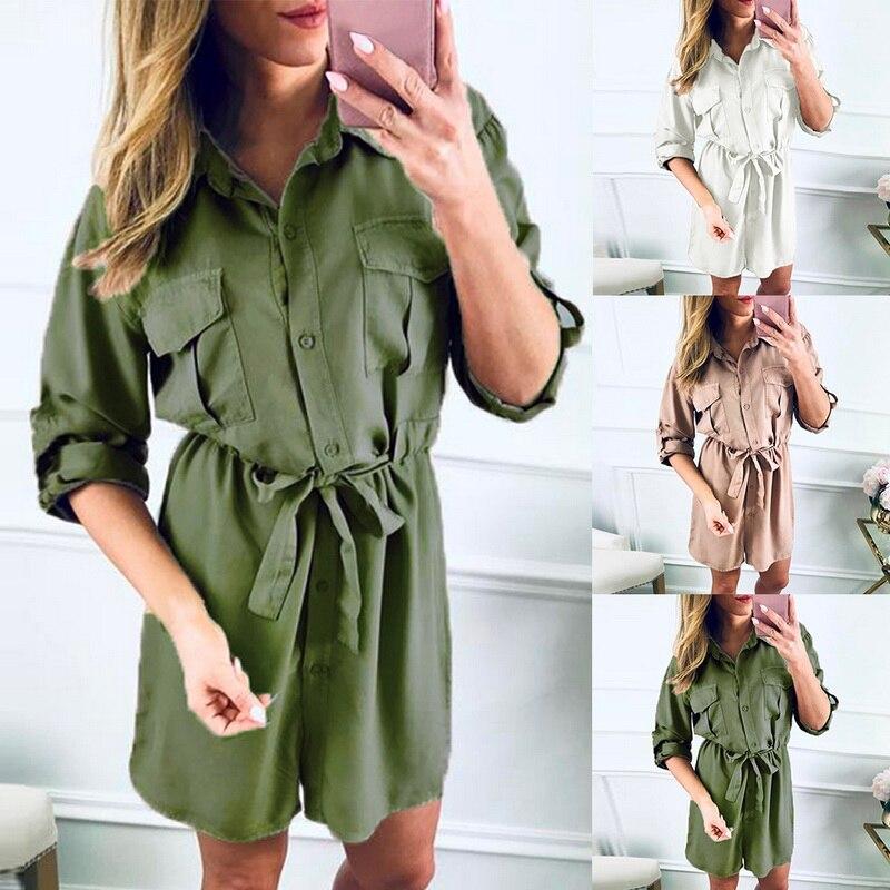 Office Ladies Long Shirts Women Long Sleeve High Waist Turn down Shirt Spring  Solid Sashes Summer Long Shirt 2019 New