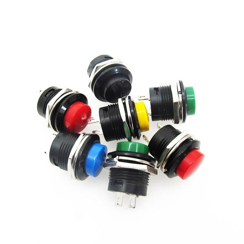 5 pçs/lote R13-507 botão 16mm 2PIN Rodada lockless interruptor de auto-reset
