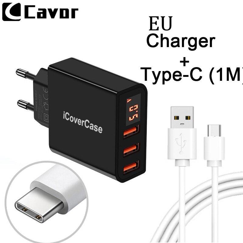 5 v EU Universal 3 Ports Adapter für HTC U12 leben U11 Augen U Ultra Spielen Fall Telefon Ladegerät Reise stecker Typ USB C Kabel Chargeur