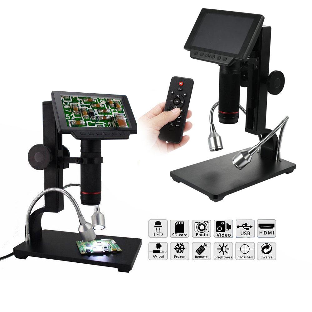 Microscopio Digital ADSM302 de 5 pulgadas electrónico con Control remoto USB 1080 P Microscopio de vídeo Full HD lupa de Cámara Industrial