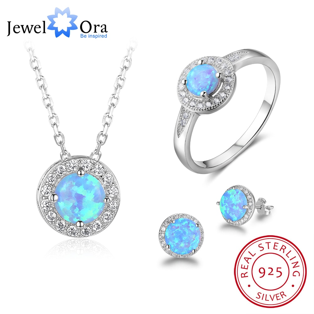 Round Opal Stone Jewelry Sets 925 Sterling Silver Stud Earrging Ring Necklace Party Jewelry Gift For