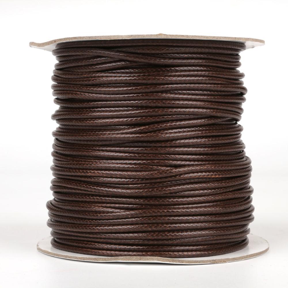 5/10 metros/rollo de cordón de algodón encerado de Color marrón Cordón de cuero Real cuerda de hilo collar de correa para DIY joyería haciendo hallazgos