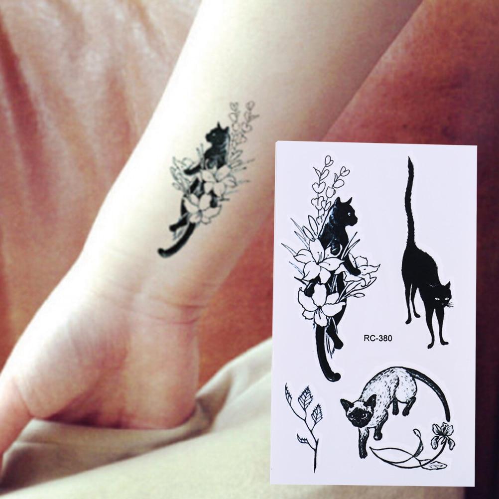 Indoloro negro gatos Sexy impermeable 10,5*6cm tatuaje temporal Flash arte de cuerpo falso Henna tatuaje pegatinas