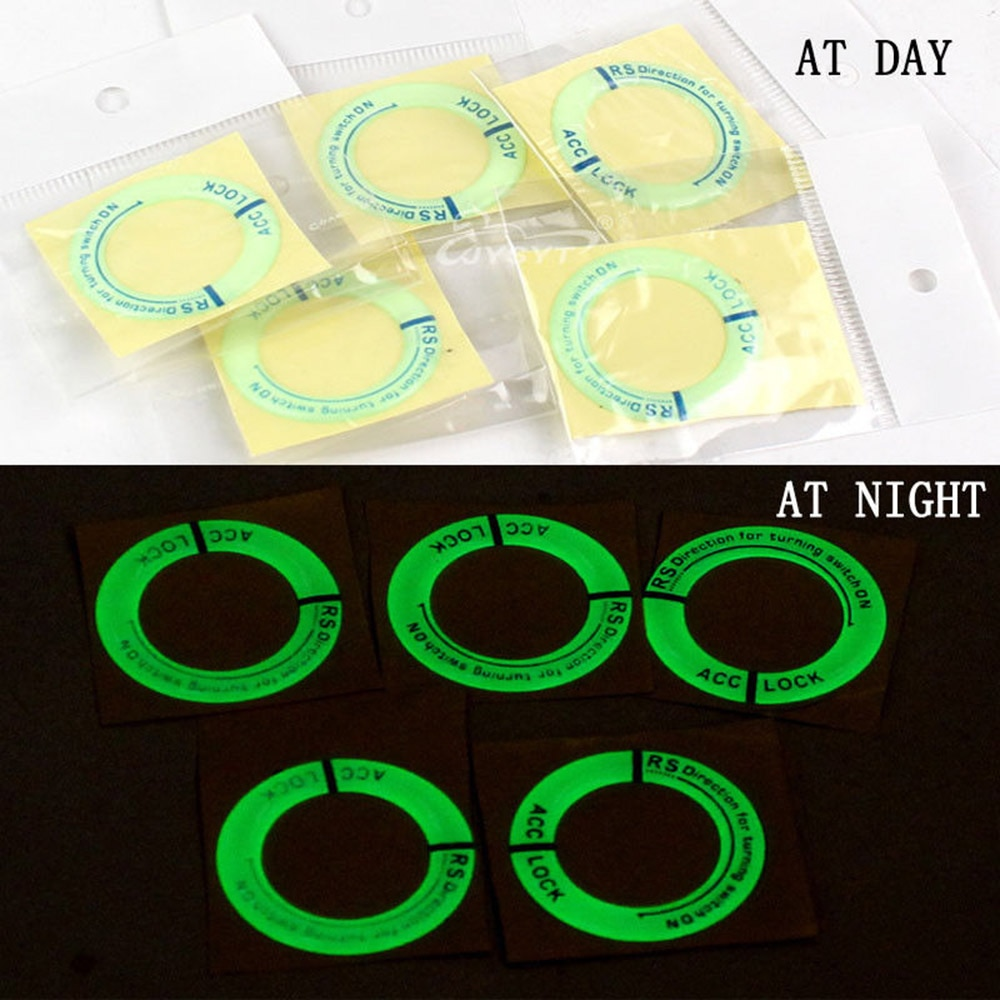 luminous ignition switch cover key aluminum alloy switch decoration ring motorcycle car styling interior accessories promotion Car Ignition Switch Cover Luminous Key Ring Hole Cover Sticker