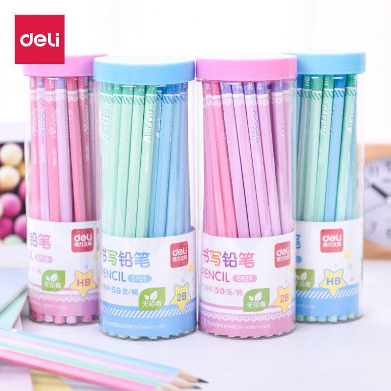 Deli S929 madera natural HB 2B lápiz hexagonal respetuoso con el medio ambiente niños botella Escuela Primaria estudiantes escribir lápiz estándar