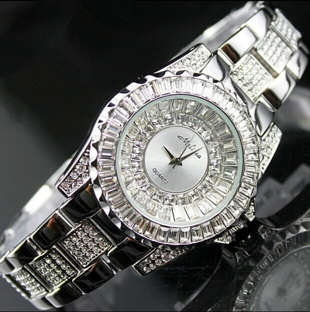 Original MELISSA Brand Women Crystals Watches Full Steel Bracelet Clock Elegant Lady Dress Wristwatch Quartz Analog Relojes M124