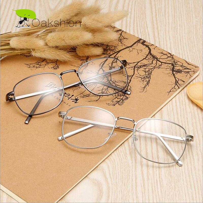Montura de gafas de Metal cuadrada Retro Unisex transparente lente negra/plata/oro/gris/marrón montura de Metal gafas nuevas para hombres/mujeres